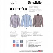 8753 Simplicity Pattern: Men's Classic, Modern and Slim Fit Shirts
